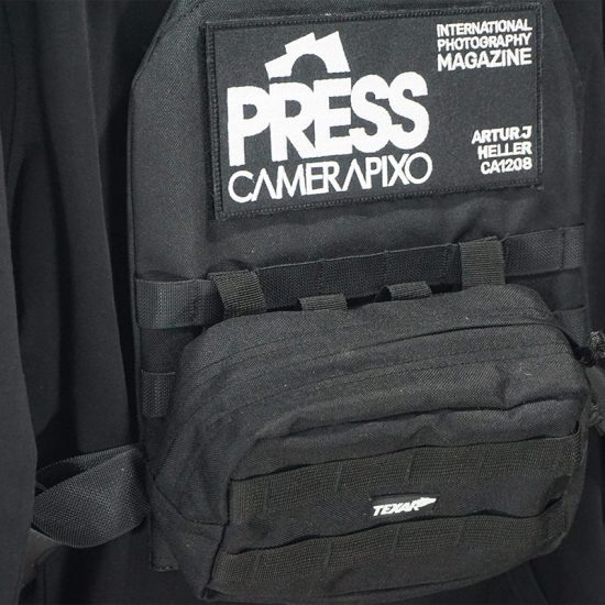 Black press vest for freelance photojournalists