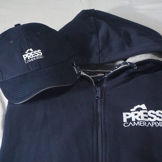 personalized press hoodie with press cap