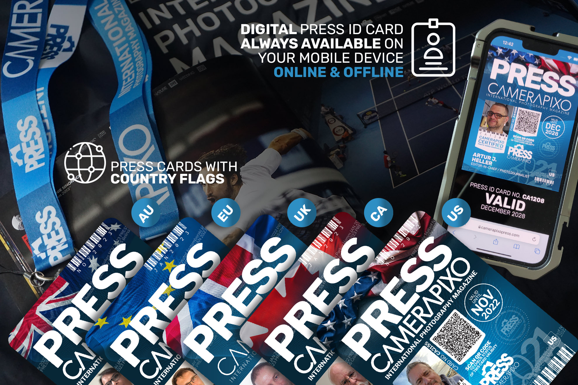 always on digital press id card for freelance photographers and videographers