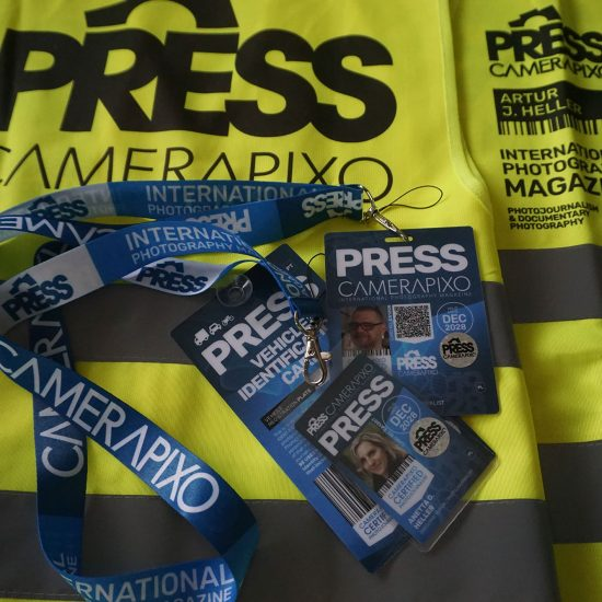 press card with press yellow vest