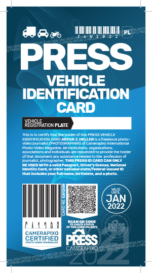 Camerapixo Press ID Card - vehicle identification card - sample